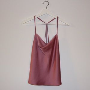 ABERCROMBIE pink silky cowl-neck tank